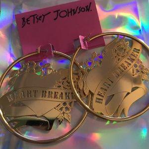 Gold heartbreaker hoop earrings Betsey Johnson